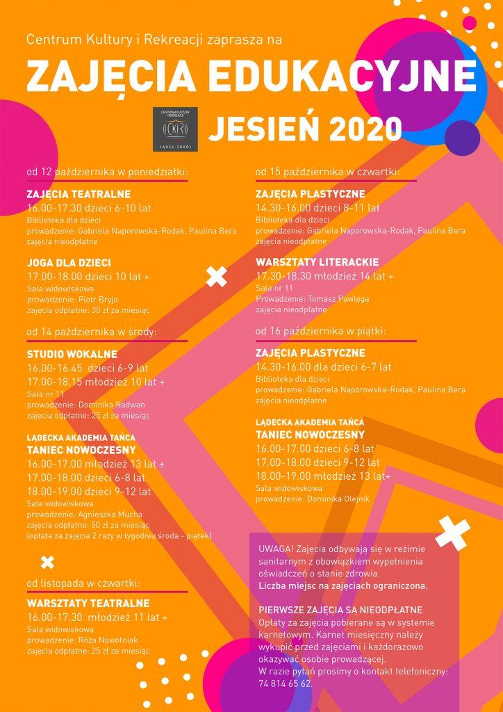 Oferta zajęć edukacyjnych Centrum Kultury i Rekreacji w sezonie 2020/2021
