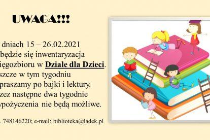Inwentaryzacja działu dla dzieci