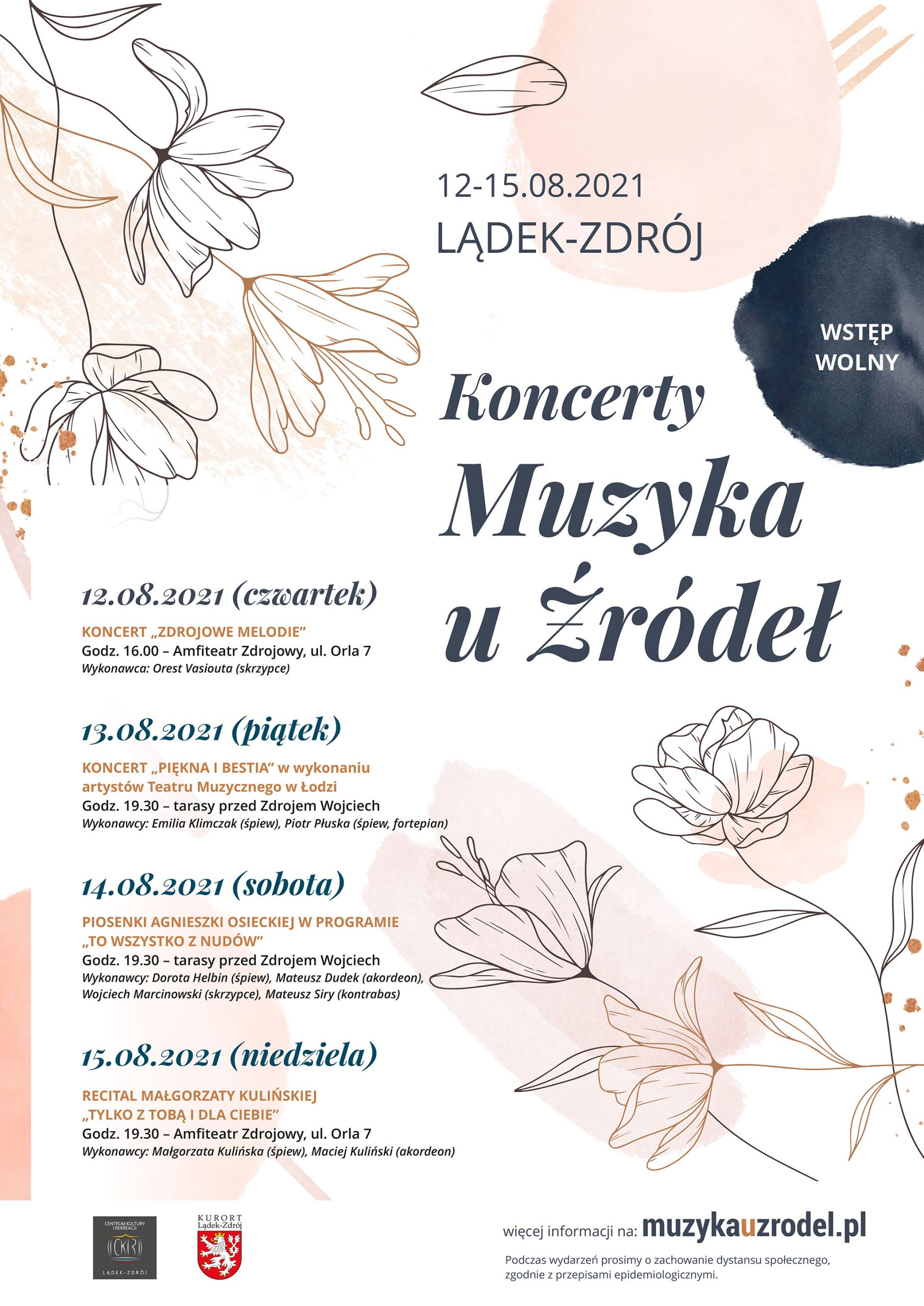 Muzyka u Źródeł 2021- plakat z programem